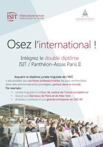 Double diplôme ISIT/Panthéon-Assas Paris II