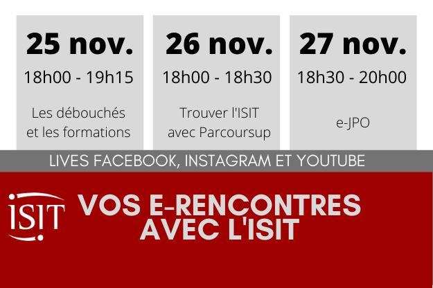 Vos e-Rencontres avec l'ISIT - du 25 au 27 novembre