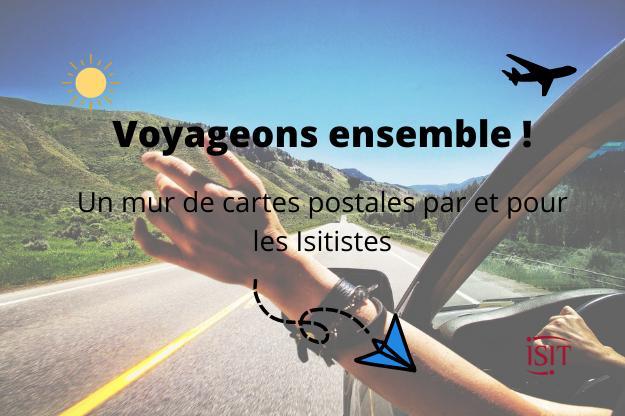 Un mur de cartes postales à l'ISIT : Nos étudiant.e.s voyagent